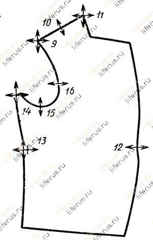 Схема размещения важнейших конструктивных точек: б - полочки