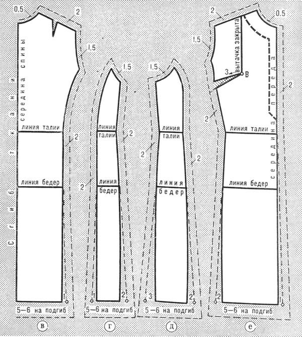 Выкройки прямого платья с рельефом